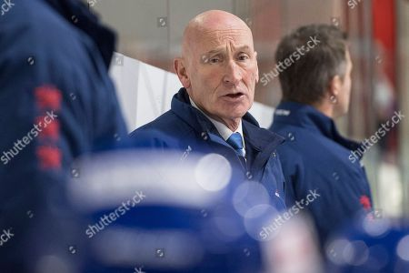 Stock Photo of Head Coach Craig Ramsay from Slovakia reacts during an international ice hockey game between Russian Olympic Team and Slovakia at the Lucerne Cup in Lucerne, Switzerland, 13 December 2018.