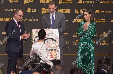 Stock Picture of King Felipe VI, Queen Letizia and Teresa Perales