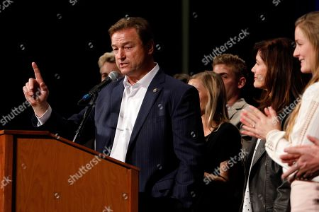 Stock Image of Sen. Dean Heller, R-Nev., makes his concession speech during the NVGOP Election Night Watch Party in Las Vegas. Heller is thanking his family and staff and touting the work of his office in a farewell speech on the floor of the U.S. Senate. Heller in a speech in Washington on Thursday, Dec. 13, morning cited his work on veterans' issues and the 2017 Republican tax overhaul as among his top accomplishments in his seven years in the Senate