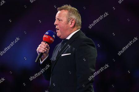 MC John McDonald during the PDC World Championship Darts at Alexandra Palace, London
