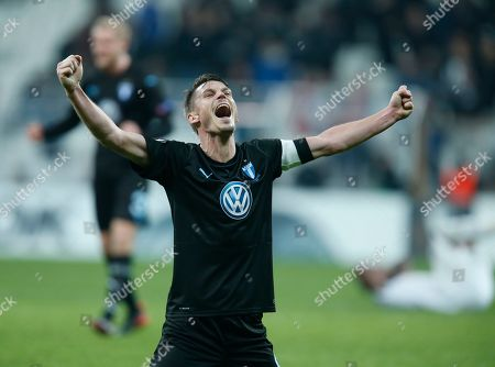 Malmo's Markus Rosenberg celebrates at the end of the Europa League, Group I, soccer match between Besiktas and Malmo FF at the Besiktas Park stadium, in Istanbul