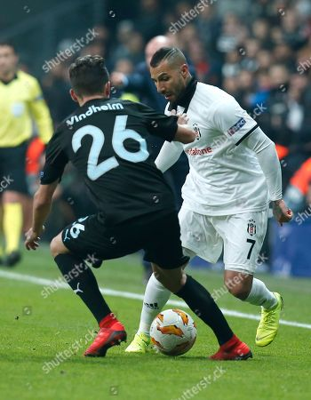 Besiktas midfielder Ricardo Quaresma, right, challenges for the ball with Malmo's Andreas Vindheim during the Europa League, Group I, soccer match between Besiktas and Malmo FF at the Besiktas Park stadium, in Istanbul