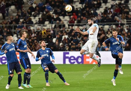 Adil Rami of Olympique Marseille in action during UEFA Europa League group H soccer match between Olympique Marseille and Apollon Limassol at the Velodrome Stadium in Marseille, southern France, 28 October 2018.