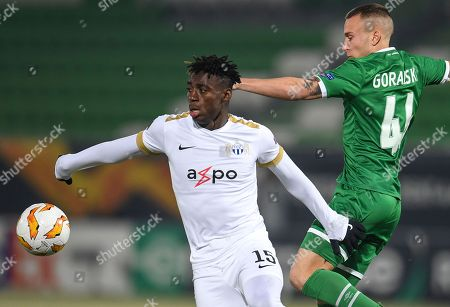 Stephen Odey (L) of FC Zurich in action against Jacek Goralski (R) of Ludogorets during the UEFA Europa League group stage A soccer match between PFC Ludogorets Razgrad and FC Zurich in Razgrad, Bulgaria, 13 December 2018.