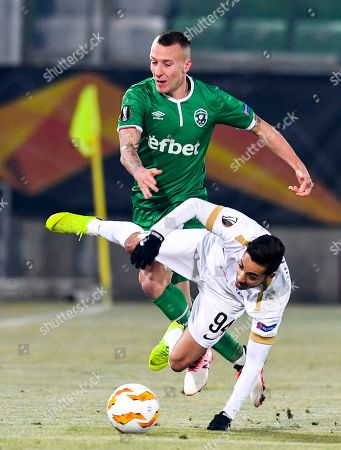 Salim Khelifi (R) of FC Zurich in action against Jacek Goralski (L) of Ludogorets during the UEFA Europa League group stage A soccer match between PFC Ludogorets Razgrad and FC Zurich in Razgrad, Bulgaria, 13 December 2018.