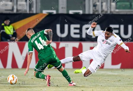 Fabio Dixon (R) of FC Zurich in action against Jacek Goralski (L) of Ludogorets during the UEFA Europa League group stage A soccer match between PFC Ludogorets Razgrad and FC Zurich in Razgrad, Bulgaria, 13 December 2018.