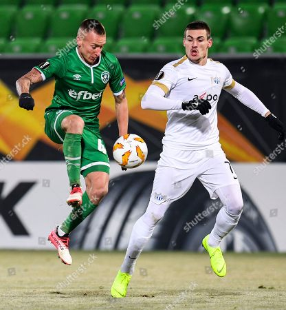 Stock Picture of Jacek Goralski (L) of Ludogorets in action against Benjamin Kololli (R) of FC Zurich during the UEFA Europa League group stage A soccer match between PFC Ludogorets Razgrad and FC Zurich in Razgrad, Bulgaria, 13 December 2018.