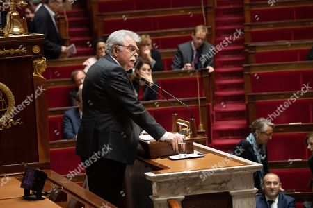"Head of the Democratic and Republican Leftist parliamentary group (Groupe de la Gauche democrate et republicaine, GDR) Andre Chassaigne delivers a speech during a debate about a motion of confidence in the French government due to the ""yellow vests"" crisis by the left-wing members of parliament  at the National Assembly in Paris, France, December 13, 2018."