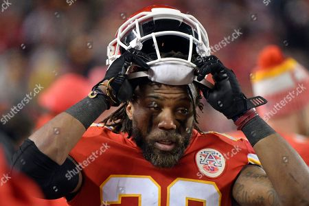 Kansas City Chiefs defensive back Eric Berry (29) is seen on the sidelines during the second half of an NFL football game against the Los Angeles Chargers in Kansas City, Mo