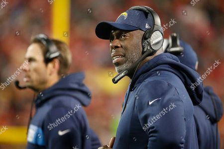 8aee2270eca Los Angeles Chargers head coach Anthony Lynn follows the first half of an  NFL football game
