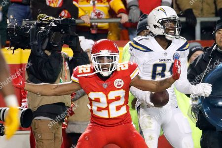 Orlando Scandrick, Mike Williams. Kansas City Chiefs defensive back Orlando Scandrick (22) tries to dispute a touchdown pass by Los Angeles Chargers wide receiver Mike Williams, right, during the second half of an NFL football game in Kansas City, Mo., . The Los Angeles Chargers won 29-28