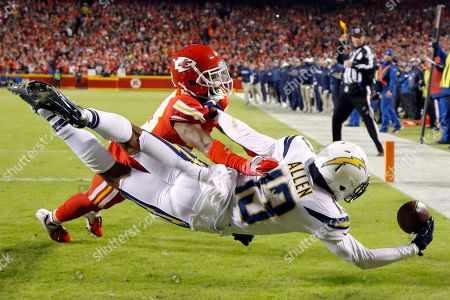 Keenan Allen, Eric Berry. Los Angeles Chargers wide receiver Keenan Allen (13) attempts a touchdown against Kansas City Chiefs defensive back Eric Berry during the first half of an NFL football game in Kansas City, Mo., . Allen did not score