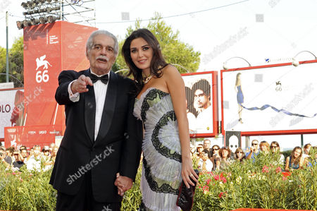 Stock Photo of Omar Sharif and Cyrine Abdelnour