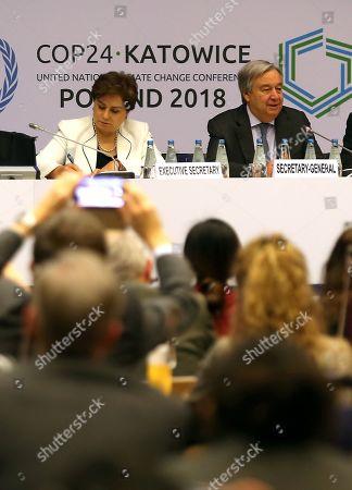 Executive Secretary of UN Climate Change Patricia Espinosa (L) and Secretary General of the United Nations (UN) Antonio Guterres (R) during the COP24 summit in Katowice, Poland, 14 December 2018. The COP (Conference of the Parties) summit is the highest body of the UN Framework Convention on Climate Change (UNFCC). Expected at the meeting are close to 30,000 delegates from all over the world, including government leaders and ministers responsible for environmental policy.