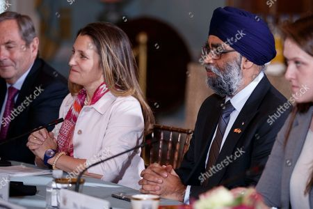 Canadian Foreign Minister Chrystia Freeland (2-L) and Canadian Defense Minister Harjit Sajjan (2-R) participate in the US-Canada 2+2 Ministerial at the State Department in Washington, DC, USA, 14 December 2018. US Secretary of State Mike Pompeo and Secretary of Defense James Mattis host the US-Canada 2+2 Ministerial with Canadian Foreign Minister Chrystia Freeland, and Canadian Defense Minister Harjit Sajjan at the Department of State.