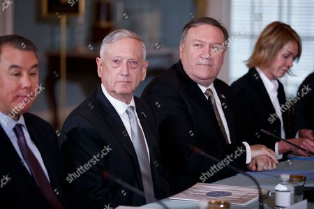 US Secretary of State Mike Pompeo (2-R) and Secretary of Defense James Mattis (2-L) participate in the US-Canada 2+2 Ministerial at the State Department in Washington, DC, USA, 14 December 2018. US Secretary of State Mike Pompeo and Secretary of Defense James Mattis host the US-Canada 2+2 Ministerial with Canadian Foreign Minister Chrystia Freeland, and Canadian Defense Minister Harjit Sajjan at the Department of State.