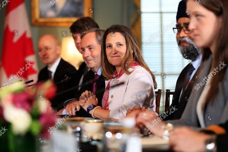Chrystia Freeland, Harjit Sajjan. Canadian Minister of Foreign Affairs Chrystia Freeland, center, and Canadian Minister of Defense Harjit Sajjan, second from right, attend a U.S.-Canada 2+2 Ministerial at the State Department in Washington