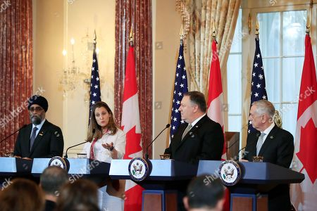 Mike Pompeo, Jim Mattis, Chrystia Freeland, Harjit Sajjan. Canadian Minister of Foreign Affairs Chrystia Freeland, second from left, with Canadian Minister of Defense Harjit Sajjan, left, and Secretary of State Mike Pompeo, and Defense Secretary Jim Mattis, right, speaks to reporters during a news conference following a meeting at the State Department in Washington