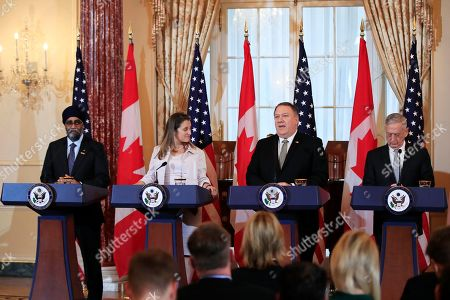 Mike Pompeo, Jim Mattis, Chrystia Freeland, Harjit Sajjan. Secretary of State Mike Pompeo, second from right, with Defense Secretary Jim Mattis, right, and their Canadian counterparts Canadian Minister of Foreign Affairs Chrystia Freeland and Canadian Minister of Defense Harjit Sajjan, left, speaks to reporters during a news conference following a U.S.-Canada 2+2 Ministerial at the State Department in Washington