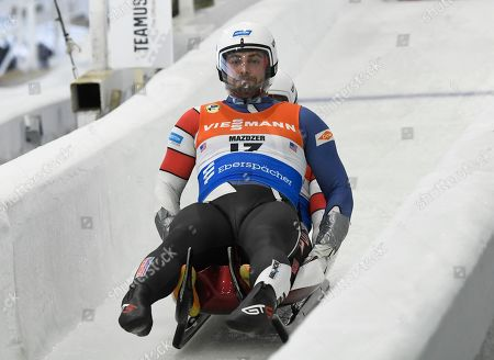 Chris Mazdzer and Jayson Terdiman, of the United States, take a training run for the luge World Cup, in Lake Placid, N.Y. Competition begins Saturday