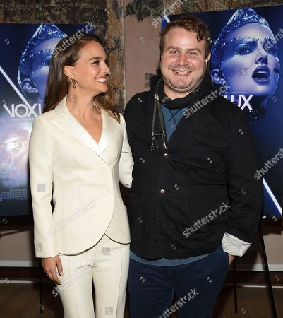 """Natalie Portman, Brady Corbet. Actress Natalie Portman, left, and writer-director Brady Corbet attend a special screening of """"Vox Lux"""" at The Whitby Hotel Theater, in New York"""