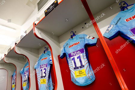 Tom O?Flaherty of Exeter Chiefs' shirt hangs in the Exeter Chiefs dressing room