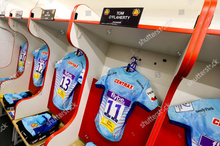 Stock Picture of Tom O?Flaherty of Exeter Chiefs' shirt hangs in the Exeter Chiefs dressing room