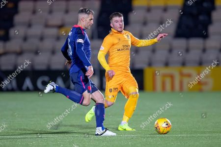 Nicky Cadden (#11) of Livingston FC closes down Aaron Hughes (#16) of Heart of Midlothian during the Ladbrokes Scottish Premiership match between Livingston FC and Heart of Midlothian FC at the Tony Macaroni Arena, Livingston