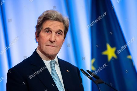 Former US Secretary of State John F. Kerry speaks during an award ceremony for the Otto Hahn Peace Medal 2018 at the Rotes Rathaus in Berlin, Germany, 14 December 2018. Kerry receives the Gold Medal which is named after the German nuclear chemist and 1944 Nobel Laureate Otto Hahn, who is an honorary citizen of Berlin.