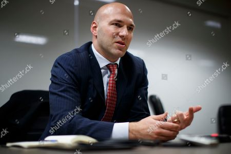 Rep.-elect Anthony Gonzalez, R-Ohio speaks during an interview with the Associated Press at the National Republican Congressional Committee offices in Washington. This year's midterm election is sending a record 43 Latinos to Congress