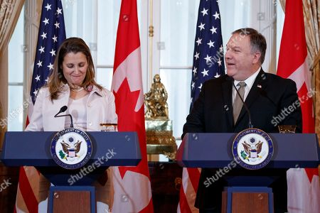 US Secretary of State Mike Pompeo and Canadian Foreign Minister Chrystia Freeland participate in a joint press conference during the US-Canada 2+2 Ministerial at the State Department in Washington, DC, USA, 14 December 2018. US Secretary of State Mike Pompeo and Secretary of Defense James Mattis host the US-Canada 2+2 Ministerial with Canadian Foreign Minister Chrystia Freeland, and Canadian Defense Minister Harjit Sajjan at the Department of State.