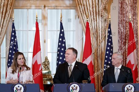 Editorial image of US Secretary of State Mike Pompeo and Secretary of Defense James Mattis host the US-Canada 2+2 Ministerial with Canadian Foreign Minister Chrystia Freeland, and Canadian Defense Minister Harjit Sajjan at the Department of State., Washington, USA - 14 Dec
