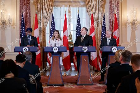 Editorial photo of US Secretary of State Mike Pompeo and Secretary of Defense James Mattis host the US-Canada 2+2 Ministerial with Canadian Foreign Minister Chrystia Freeland, and Canadian Defense Minister Harjit Sajjan at the Department of State., Washington, USA - 14 Dec