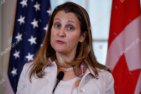 Canadian Foreign Minister Chrystia Freeland responds to a question from the news media at a joint press conference during the US-Canada 2+2 Ministerial at the State Department in Washington, DC, USA, 14 December 2018. US Secretary of State Mike Pompeo and Secretary of Defense James Mattis host the US-Canada 2+2 Ministerial with Canadian Foreign Minister Chrystia Freeland, and Canadian Defense Minister Harjit Sajjan at the Department of State.