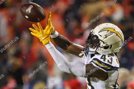 Michael Davis, Los Angeles Chargers Cornerback (43), catches the ball