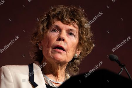 British Labour Party MP Kate Hoey addresses a 'Leave Means Leave Rally' in Central London, Britain, 14 December 2018. The campaign group Leave Means Leave is calling for changes to British Prime Minister Theresa May's negotiations on the United Kingdom leaving the European Union. Supporters of the campaign group are calling for No Deal on Brexit.