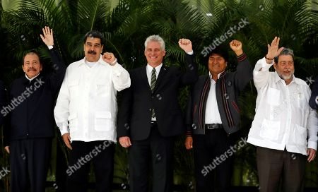 (L-R) The president of Nicaragua, Daniel Ortega, the president of Venezuela, Nicolas Maduro; the president of Cuba, Miguel Diaz-Canel, the president of Bolivia, Evo Morales, and the president of Saint Vincent and the Grenadines, Ralph Gonsalves, pose during the taking of the official photograph of the 16th Summit of the Bolivarian Alliance for the Peoples of America (Alba), in Havana, Cuba, 14 December 2018.