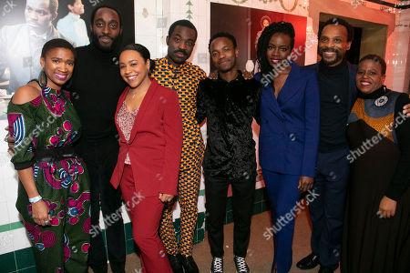 Stock Image of Coral Messam (Movement Theatre Director), Ivanno Jeremiah (Chancellor), Ola Ince (Theatre Director), Paapa Essiedu (Chilford), Rudolphe Mdlongwa (Tamba), Danai Gurira (Author), Jude Akuwudike (Uncle) and Pamela Nomvete (Mai Tamba)