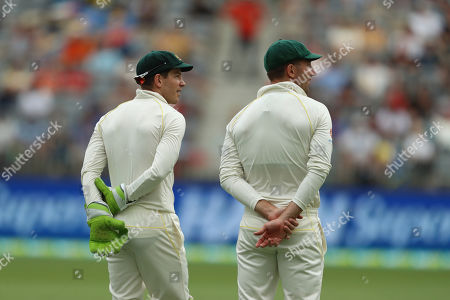 ZTim Paine. Australia's Tim Paine and Shaun Marsh during play in the second cricket test between Australia and India in Perth, Australia
