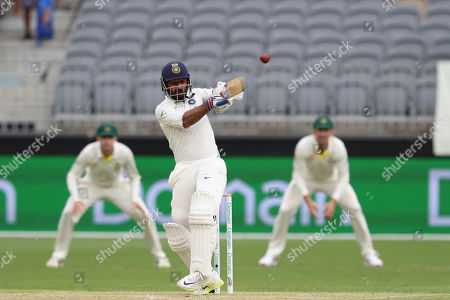 India's Ajinkya Rahane bats during play in the second cricket test between Australia and India in Perth, Australia