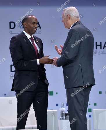 Prime Minister of Somalia Hassan Ali Khaire (L) and Foreign Minister of Romania Teodor-Viorel Melescanu (R) attends the opening session of the Doha Forum at Sheraton Grand Doha Resort & Convention Hotel in Doha, Qatar, 15 December 2018. The Doha Forum, a global platform for dialogue gathering world leader and policy makers among others to build innovative and action driven networks, runs on 15 and 16 December.