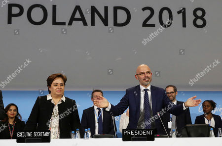 Michal Kurtyka, Patricia Espinosa. President Michal Kurtyka, right, and Executive Secretary of the UN Framework Convention on Climate Change Patricia Espinosa react after adopting the final agreement during a closing session of the COP24 U.N. Climate Change Conference 2018 in Katowice, Poland