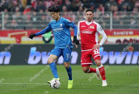 Chung Yong Lee, Robert Zulj /   /        /       / Sport / Football /   2.Bundesliga  DFL /  2018/2019 / 15.12.2018 / 1.FC Union Berlin FCU vs. VfL Bochum / DFL regulations prohibit any use of photographs as image sequences and/or quasi-video. /