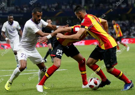 Anice Badri (R) of ES Tunis in action during the FIFA Club World Cup 2018 second round match between Al Ain FC and ES Tunis in Al Ain, United Arab Emirates, 15 December 2018.
