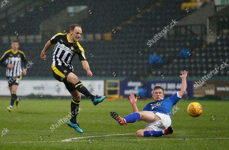 Notts County's David Vaughan shoots at goal