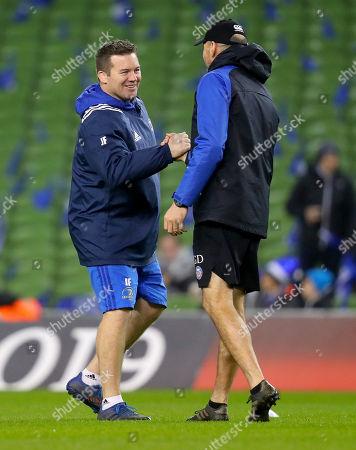 Leinster vs Bath. Leinster Scrum Coach John Fogarty with Bath Attack Coach Girvan Dempsey