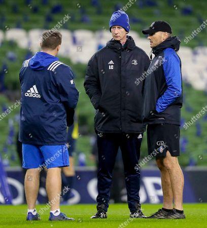 Leinster vs Bath. Leinster Scrum Coach John Fogarty and Head Coach Leo Cullen with Bath Attack Coach Girvan Dempsey