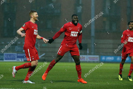Stock Image of O's George Elokobi scores and celebrates after scoring opening goal during Leyton Orient vs Beaconsfield Town, Buildbase FA Trophy Football at The Breyer Group Stadium on 15th December 2018