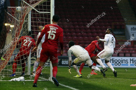 O's George Elokobi scores and celebrates after scoring opening goal during Leyton Orient vs Beaconsfield Town, Buildbase FA Trophy Football at The Breyer Group Stadium on 15th December 2018