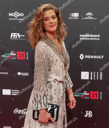Marie Baumer poses for the photographers on the red carpet of European Film Festival at Teatro de la Maestranza in Sevilla, Andalusia, Spain, 15 December 2018.